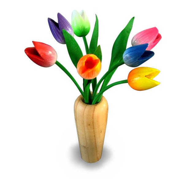 Tulpen Op Vaas.Tulpen In Houten Vaas Wide Worldtrade